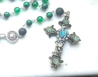 Supernatural Rosary - Dean Winchester Rosary - Malachite, Jade and Lava Stone Wire Wrapped Rosary