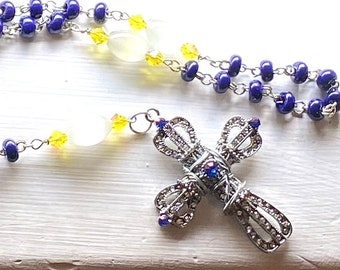 Dragon Ball Rosary - Vegeta Rosary - Czech Glass Wire Wrapped Rosary