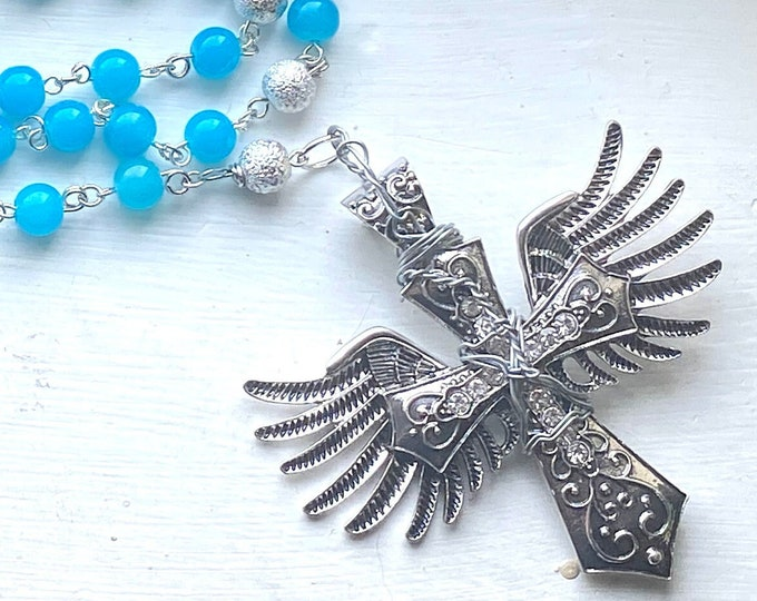 Supernatural Rosary - Castiel Rosary - Art Glass Wire Wrapped Rosary