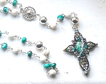 Supernatural Rosary - Sam Winchester and Dean Winchester Rosary - Howlite and Art Glass