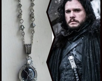 Game of Thrones Jewelry - Jon Snow - Kit Harington Game of Thrones GoT Gunmetal Black Diamond Crystal Necklace