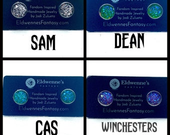Supernatural Jewelry - Faux Druzy Stainless Steel Studs - Choose Sam, Dean, Cas or the Winchesters