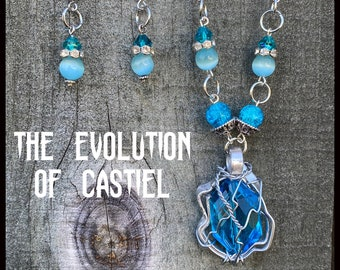 The Evolution of Castiel - Supernatural Inspired Wire Wrapped Necklace Earrings Misha Collins