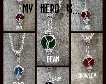My Hero Is...Limited Edition Supernatural Inspired Wirewrapped Necklace Sam Winchester Dean Winchester Castiel Gabe Crowley