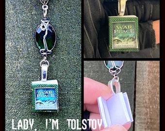 Lady, I'm Tolstoy- Supernatural Dean Winchester Inspired Wire Wrapped Miniature Book Necklace