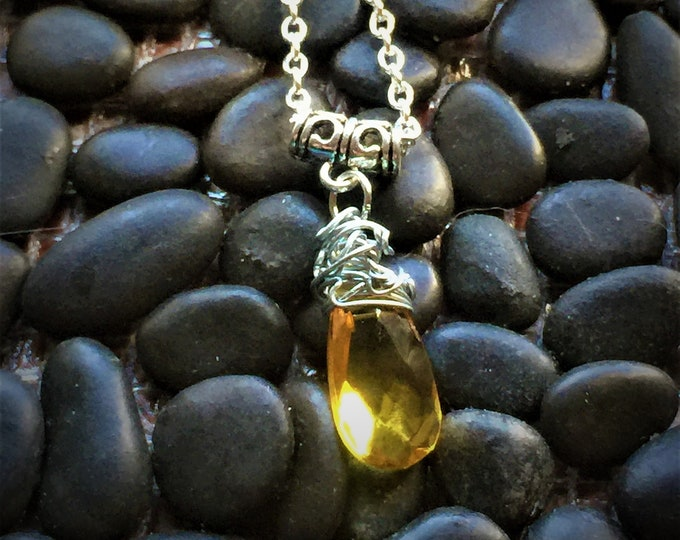 Gabriel's Eye Roll - Supernatural Gabriel Richard Speight Jr.  Yellow Crystal Wire Wrapped Fan Art Necklace