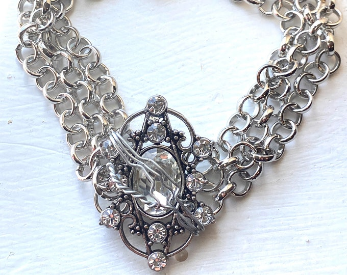 Supernatural Bracelet - Sam Winchester Crystal and Chain Wire Wrapped Multistrand Bracelet
