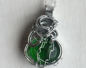 Dean Winchester Loves Chick Flicks - Supernatural Jensen Ackles Fan Art Green Wrapped Necklace
