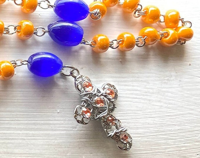 Dragon Ball Rosary - Goku Rosary - Czech Glass Wire Wrapped Rosary