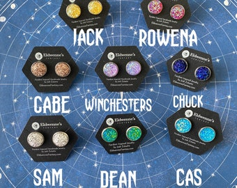 Supernatural Inspired Earrings - SPNFamily Sam Winchester Dean Winchester Chuck Faux Druzy Stainless Steel Stud Earrings