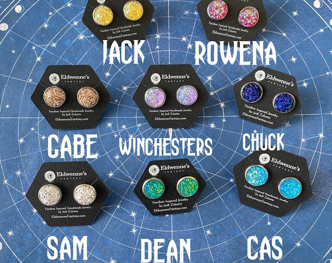Supernatural Jewelry - Stainless Steel Stud Faux Druzy Earrings - Choose Sam, Dean, Cas and More