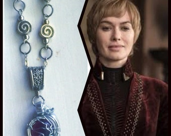 Game of Thrones Jewelry - Cersei Lannister Necklace - Lena Headey Game of Thrones GoT Purple Silver Wire Wrapped Necklace