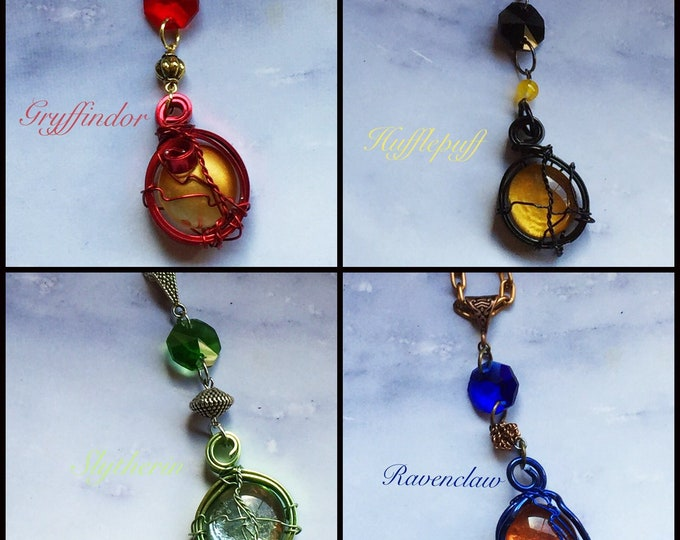 Harry Potter Inspired Wire Wrapped Necklaces Fan Art - Gryffindor Slytherin Hufflepuff Ravenclaw