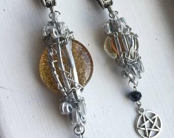 Lucifer's Cage - Lemon Yellow Glass Silver Cage Necklace Crystal Pentagram Supernatural Mark Pellegrino SPNFamily