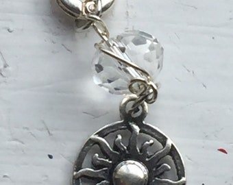 Clear Crystal and Sunburst Charm for Wire Wrapped Charm Necklace