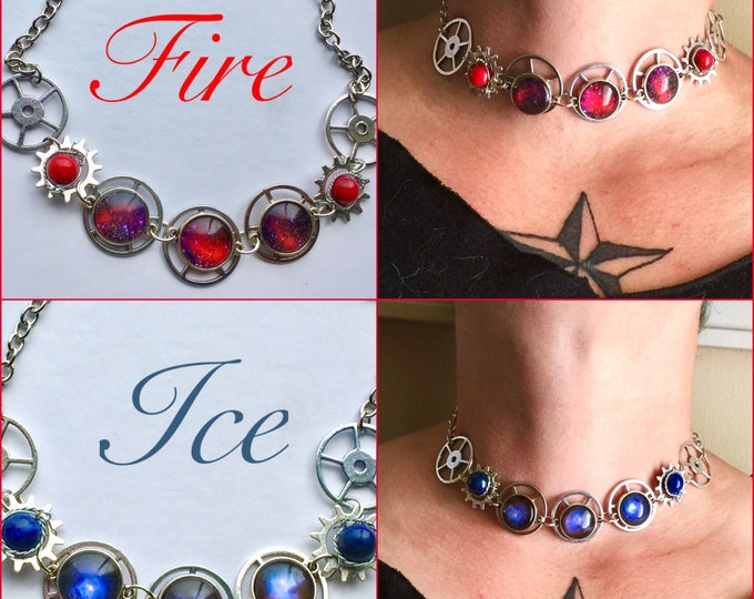 Featured listing image: Fire and Ice Chokers - Lapis Lazuli Bamboo Coral Galaxy Nebula Wire Wrapped