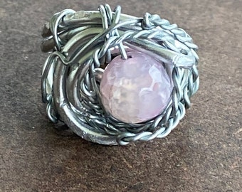 Wire Wrapped Dyed Jade Ring