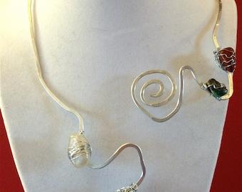 Wire Forged Goddess Necklace Red Jasper Green Jasper Amethyst Clear Quartz