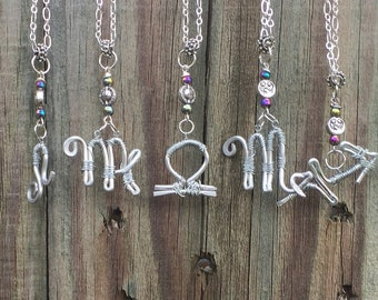Zodiac Symbol Wire Wrapped Necklaces with Sun and Moon Silver Bead