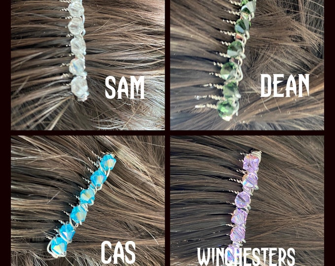 Supernatural Jewelry - Supernatural Comb - Wire Wrapped Hair Combs - Choose from Sam Winchester Dean Winchester Castiel