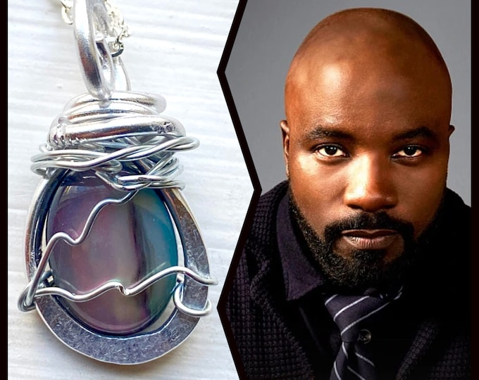Evil Jewelry - David Acosta of Evil Necklace - Wire Wrapped Abalone Resin Necklace