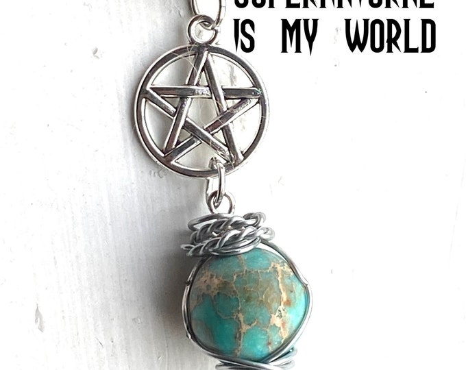 Supernatural - Supernatural is My World - Wire Wrapped Supernatural Inspired Agate and Sterling Silver Necklace