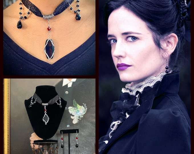 Penny Dreadful Jewelry -  Vanessa Necklace and Earrings Set - Victorian Gothic Jewelry