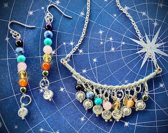 Wire Wrapped Chakra Necklace and Earrings Set