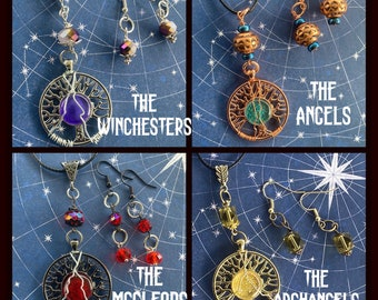 My Family Is...Supernatural Inspired Wire Wrapped Trees of Life  Necklace Earring Set Sam Dean Cas Gabe Rowena Crowley