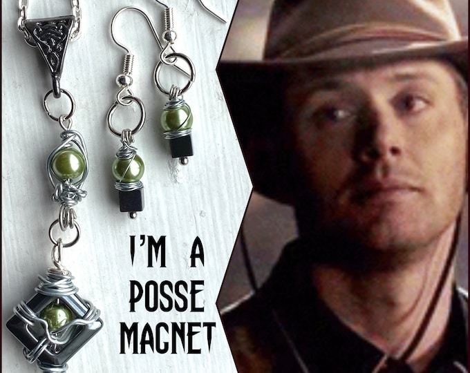 Supernatural - I'm a Posse Magnet - Dean Winchester Wire Wrapped Inspired Hematite and Glass Pear Necklace and Earrings Set
