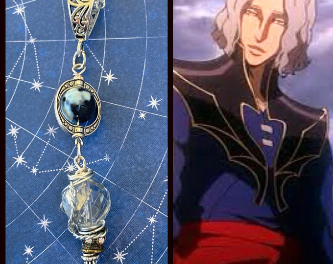 Castlevania Jewelry -  Hector - Castlevania Anime Inspired Wire Wrapped Necklace Agate Crystal Ready to Ship