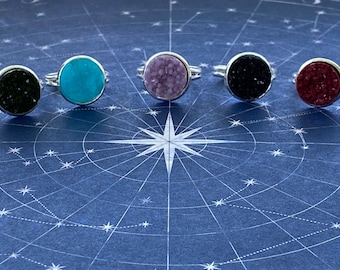 Supernatural is Wrapped Around My Finger - Faux Druzy Supernatural Inspired Adjustable Stackable Rings