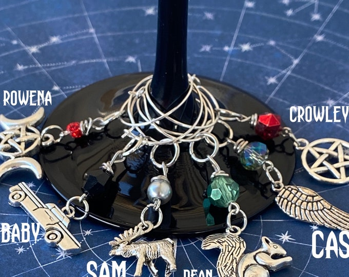 Supernatural - Wine and Bottle Charms - Sam Winchester Dean Winchester Castiel Crowley Rowena Baby Wine Marker Ready to Ship