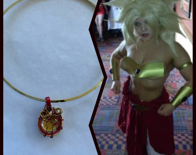 Dragon Ball Jewelry - Classic Broly Necklace Cosplay Wire Wrapped Necklace Hand Painted Necklace Choker - Dragon Ball Necklace