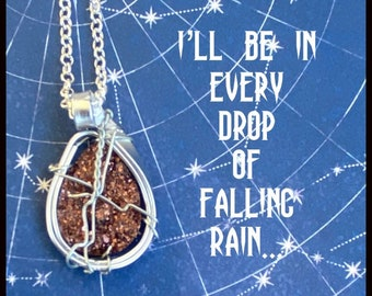 I'll Be in Every Drop of Falling Rain - Supernatural Inspired Wire Wrapped Necklace Dean Winchester Sam Winchester Alexander Calvert