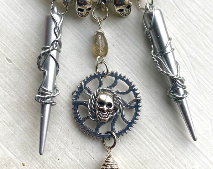 Evil Jewelry - Simply Evil - Wire Wrapped Skull and Labradorite Necklace - Steampunk Gear and Spikes