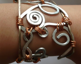Silver and Copper Wire Bracelet