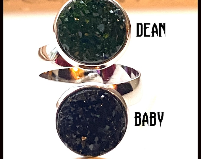 Supernatural Jewelry - Design Your Own Supernatural Ring - Faux Druzy Adjustable Band - Choose Sam, Dean, Cas, and more!