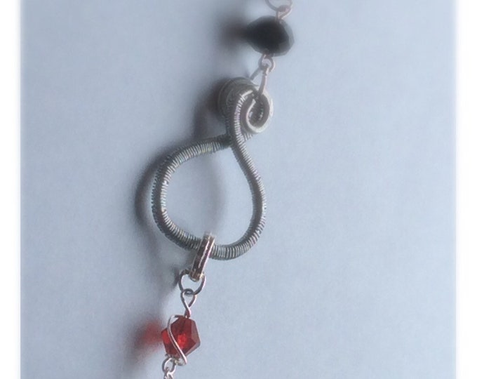 Red Crystal and Skull Charm for Wire Wrapped Charm Necklace