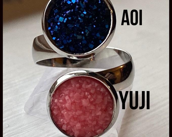 Jujutsu Kaisen Jewelry - Design Your Own JJK Ring - Faux Druzy Adjustable Band - Choose Yuji, Megumi, Nobara, Satoru and more!