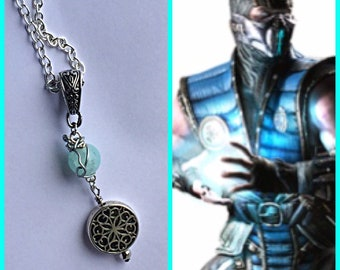 Sub Zero - Mortal Kombat inspired fan art wire wrapped necklace