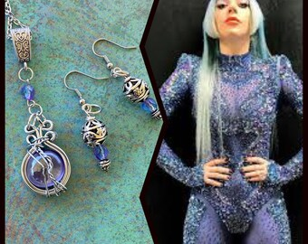 Lady Gaga Inspired Wire Wrapped Necklace and Earrings Set