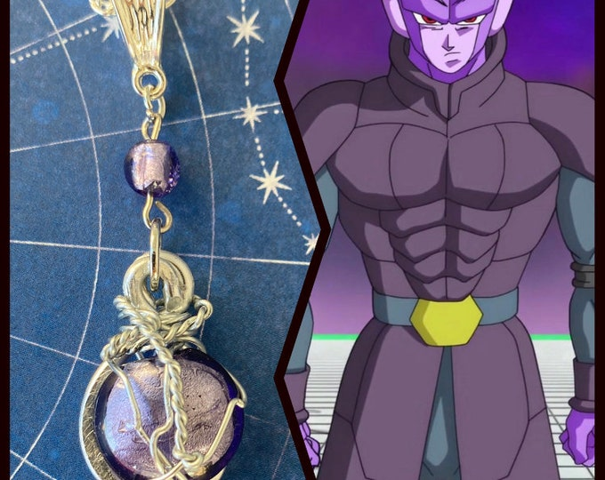 Dragon Ball Jewelry - Hit Necklace - Wire Wrapped Art Glass Necklace