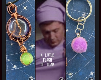 READY TO SHIP A Little Flash of Dean - Supernatural Dean Winchester Inspired Wire Wrapped Necklace with a Free Pompom Keyring
