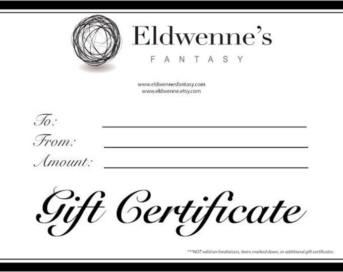 50 Dollar Gift Certificate Towards any Merchandise in Eldwenne's Fantasy - Shipped online or Snail Mail FREE