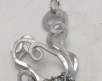 Medusa Inspired Silver Necklace on Black Satin Cord