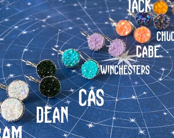Supernatural Inspired Leverback Crown Setting Earrings - SPNFamily Sam Winchester Dean Winchester Chuck Baby