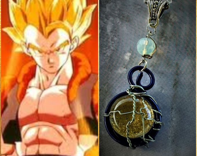 Gogeta Inspired Necklace Dragon Ball DBZ Dragon Ball Super Wire Wrapped Sean Schemmel Chris Sabat