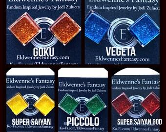 Dragon Ball Jewelry - Hand Painted Diamond Shaped Studs on Stainless Steel - Choose Goku, Vegeta, Piccolo, Super Saiyan, or Super Saiyan God