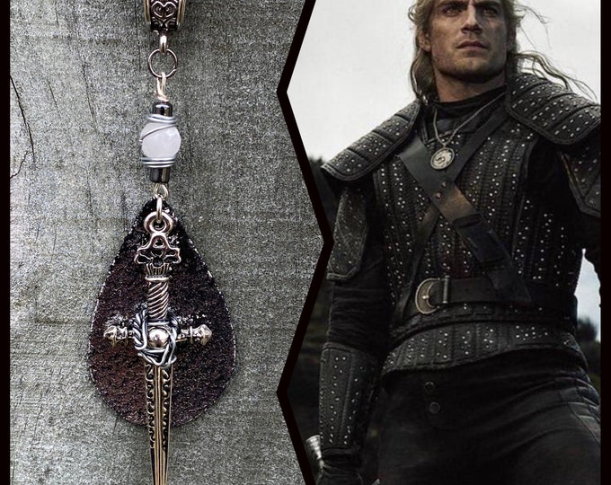 Featured listing image: Geralt Inspired Wire Wrapped Necklace The Witcher Henry Cavill Sword